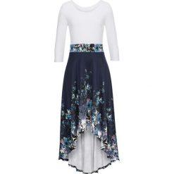 Sukienka w kwiaty bonprix ciemnoniebiesko-biały w kwiaty. Niebieskie sukienki z falbanami bonprix, w kwiaty. Za 179,99 zł.
