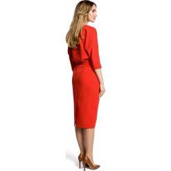 ROSETTA Sukienka odcinana w pasie z zakładkami - czerwona. Brązowe sukienki na komunię marki Moe, l, z bawełny. Za 179,90 zł.