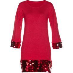Sweter z cekinami bonprix czerwony. Niebieskie swetry klasyczne damskie marki bonprix, z nadrukiem. Za 59,99 zł.