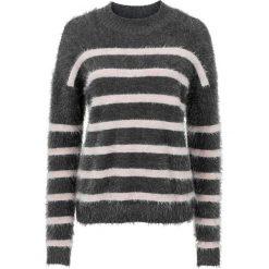 Sweter dzianinowy bonprix antracytowo-jasnoróżowy w paski. Szare swetry klasyczne damskie bonprix, z dzianiny. Za 49,99 zł.