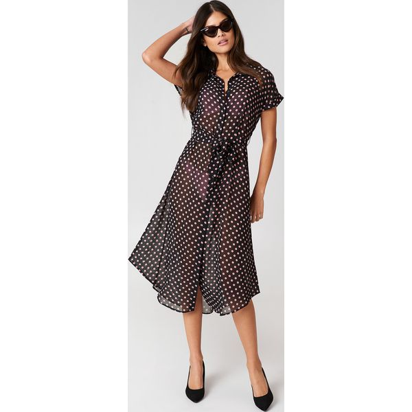 14318b7c2a J K Swim X NA-KD Sukienka koszulowa z wiązaniem w talii - Black