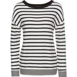 Swetry oversize damskie: Sweter dzianinowy bonprix biel wełny – czarny w paski