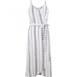 Sukienka plażowa bonprix biało-niebieski z nadrukiem. Białe sukienki na komunię bonprix, na plażę, z nadrukiem, z szyfonu, z kopertowym dekoltem, na ramiączkach, kopertowe. Za 109,99 zł.