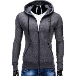 Bluzy męskie: BLUZA MĘSKA ROZPINANA Z KAPTUREM B554 - GRAFITOWA