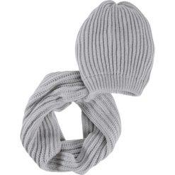 Komplet 2-częściowy: czapka beanie + szalik koło bonprix szary. Szare czapki zimowe damskie marki B'TWIN, na zimę, z elastanu. Za 69,99 zł.