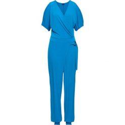 Kombinezony damskie: Kombinezon z założeniem kopertowym bonprix niebieski capri