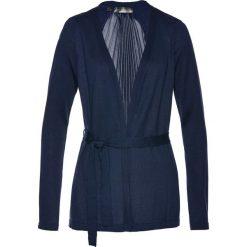 Swetry klasyczne damskie: Sweter wiązany plisowany bonprix ciemnoniebieski
