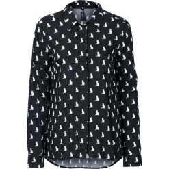 """Bluzka """"boxy"""" bonprix czarno-biały z nadrukiem. Białe bluzki z odkrytymi ramionami marki bonprix, z nadrukiem. Za 59,99 zł."""