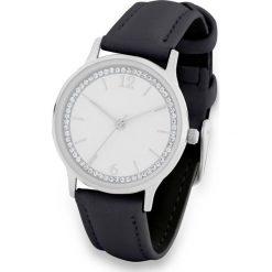 Zegarek ze sztrasami bonprix czarno-srebrny kolor. Czarne zegarki damskie bonprix, srebrne. Za 79,99 zł.