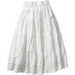 Spódniczka z koronką bonprix biel wełny. Białe spódniczki dziewczęce marki bonprix, w koronkowe wzory, z koronki. Za 59,99 zł.