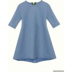 Sukienka dresowa dziecięca typu klosz niebieska. Niebieskie sukienki dziewczęce marki Pakamera, z dresówki. Za 69,00 zł.