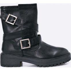 Corina - Botki. Czarne buty zimowe damskie Corina, z materiału, z okrągłym noskiem, na obcasie. W wyprzedaży za 59,90 zł.