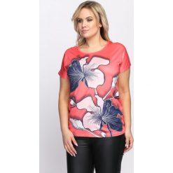 Koralowy T-shirt Rebound. Pomarańczowe bluzki damskie Born2be, l. Za 24,99 zł.