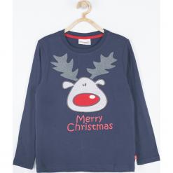 Koszulka. Czerwone t-shirty chłopięce z długim rękawem Merry Christmas, z aplikacjami, z bawełny. Za 45,90 zł.