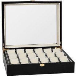 Zegarki męskie: Pudełko w kolorze czarnym na zegarki – 37,1 x 9,9 x 29,5 cm