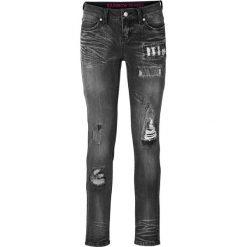 """Dżinsy SKINNY bonprix czarny """"stone"""". Niebieskie jeansy damskie marki bonprix, z nadrukiem. Za 59,99 zł."""