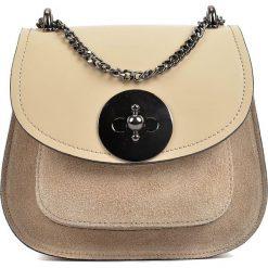 Torebki klasyczne damskie: Skórzana torebka w kolorze beżowym – 16,5 x 19 x 10 cm