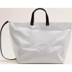 Mango - Torebka Paper. Szare shopper bag damskie Mango, w paski, z materiału, do ręki, duże. Za 139,90 zł.