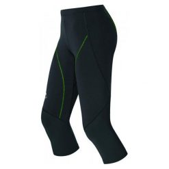 Legginsy damskie do fitnessu: Odlo Damskie Legginsy Biegowe 3/4 Fury Black/Green S
