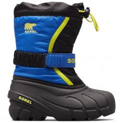 Sorel Chłopięce Śniegowce Flurry, 29, Czarne/Niebieskie. Czarne buty zimowe chłopięce Sorel, z tkaniny. Za 269,00 zł.