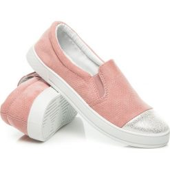Tenisówki damskie: Różowe Slip ony fashion style ANASTASIA