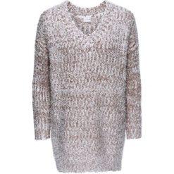 Swetry damskie: Sweter dzianinowy bonprix brunatno-biały