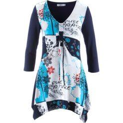 Bluzki, topy, tuniki: Tunika, rękawy 3/4 bonprix ciemnoniebieski z nadrukiem
