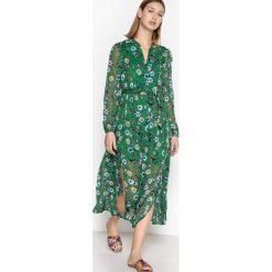 Długie sukienki: Długa rozszerzana sukienka z długimi rękawami wykonana z materiału z kwiecistytm nadrukiem