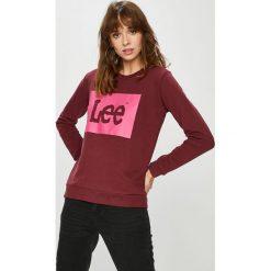Lee - Bluza. Brązowe bluzy z nadrukiem damskie Lee, l, z bawełny, bez kaptura. Za 219,90 zł.