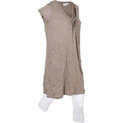 Długa tunika z kreszowanego materiału + legginsy 3/4 bonprix brunatny. Brązowe tuniki damskie bonprix, z okrągłym kołnierzem, z długim rękawem. Za 109,99 zł.