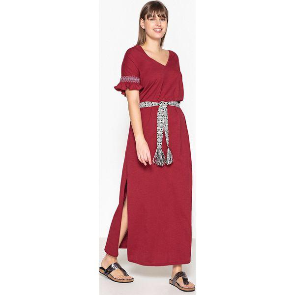 fea29e8b35 Długa gładka sukienka z krótkim rękawem - Czarne sukienki CASTALUNA ...