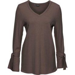 Swetry damskie: Sweter dzianinowy z rozkloszowanymi rękawami bonprix ciemny brunatny