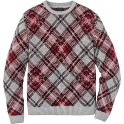 Sweter w kratę Regular Fit bonprix jasnoszary melanż - ciemnoczerwono-czarny w kratę. Szare swetry klasyczne męskie marki bonprix, l, melanż. Za 74,99 zł.