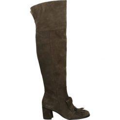 Kozaki - 6461 CAM TAUP. Brązowe buty zimowe damskie marki Kazar, ze skóry, przed kolano, na wysokim obcasie. Za 339,00 zł.