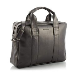 Casual torba męska na ramię laptop ciemny brąz. Szare torby na ramię męskie marki Brødrene, ze skóry. Za 199,90 zł.
