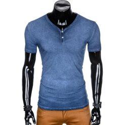 T-shirty męskie: T-SHIRT MĘSKI BEZ NADRUKU S894 - GRANATOWY