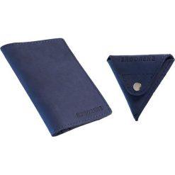 Komplet: portfel + bilonówka Brodrene granatowy. Czarne portfele męskie marki Brødrene, w paski, ze skóry. Za 124,90 zł.