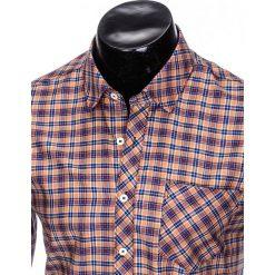 KOSZULA MĘSKA W KRATĘ Z DŁUGIM RĘKAWEM K421 - POMARAŃCZOWA. Brązowe koszule męskie na spinki Ombre Clothing, m, z długim rękawem. Za 69,00 zł.