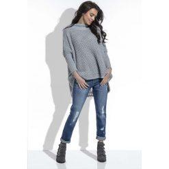 Swetry damskie: Szary  Sweter Oversize z Golfem