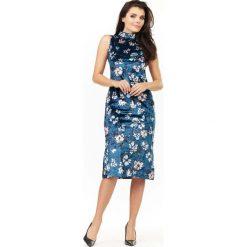 Granatowa Sukienka Ołówkowa Midi z Półgolfem. Niebieskie sukienki balowe marki Molly.pl, na co dzień, l, z kopertowym dekoltem, z krótkim rękawem, midi, dopasowane. Za 139,90 zł.