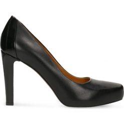 Czółenka SERENA. Czarne buty ślubne damskie Gino Rossi, ze skóry, na platformie. Za 299,90 zł.