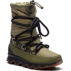 Śniegowce SOREL - Kinetic Boot NL3101 Hiker Green/Black 371. Zielone buty zimowe damskie Sorel, z gumy. Za 699,99 zł.