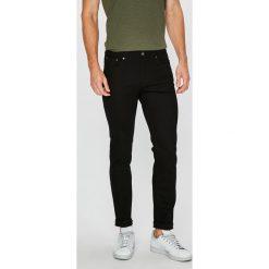 Jack & Jones - Jeansy Tim. Czarne jeansy męskie slim marki Jack & Jones, l, z bawełny, z klasycznym kołnierzykiem, z długim rękawem. Za 169,90 zł.