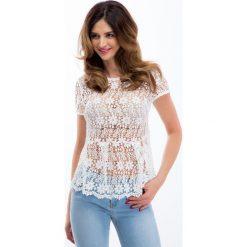 Bluzki asymetryczne: Kremowa koronkowa bluzka z baskinką 20156
