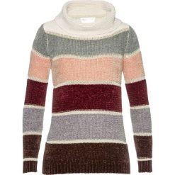 Sweter z golfem z szenili bonprix w kolorowe paski. Szare golfy damskie bonprix, w kolorowe wzory. Za 79,99 zł.