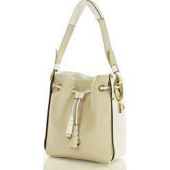 Torebka italian bag skóra MAZZINI - Daria beż z białym. Białe torebki worki MAZZINI, ze skóry. Za 319,00 zł.