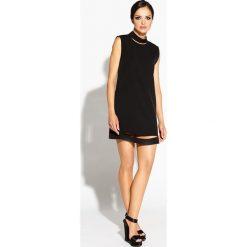 Czarna Sukienka Mini z Wycięciami. Czarne sukienki hiszpanki Molly.pl, na randkę, l, z poliesteru, wizytowe, z dekoltem na plecach, bez rękawów, mini, proste. Za 209,90 zł.