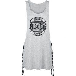 AC/DC Logo Circle Top damski odcienie szarego. Szare topy damskie AC/DC, s, z napisami, z klasycznym kołnierzykiem. Za 74,90 zł.