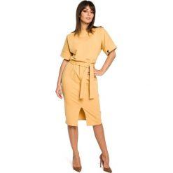 AZARIA Dzianinowa sukienka midi z rozcięciem z przodu - żółta. Niebieskie sukienki mini marki numoco, na imprezę, s, w kwiaty, z jeansu, sportowe, sportowe. Za 159,90 zł.