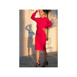 Ołówkowa sukienka marszczona. Czerwone sukienki marki Bien fashion, do pracy, m, z materiału, biznesowe, z dekoltem w łódkę, midi, dopasowane. Za 149,00 zł.